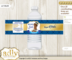 King Prince Water Bottle Wrappers, Labels for a Prince  Baby Shower, Royal blue, African