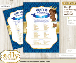 King Prince What is in Mommy's Purse, Baby Shower Purse Game Printable Card , Royal blue,  African