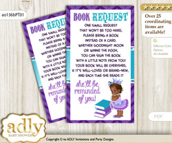 Request a Book Instead of a Card for African Princess Baby Shower or Birthday, Printable Book DIY Tickets, Chevron, Purple Teal