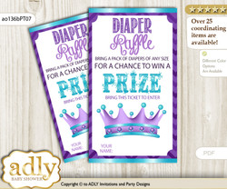African Princess Diaper Raffle Printable Tickets for Baby Shower, Purple Teal, Chevron