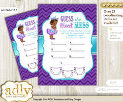 African Princess Dirty Diaper Game or Guess Sweet Mess Game for a Baby Shower Purple Teal, Chevron