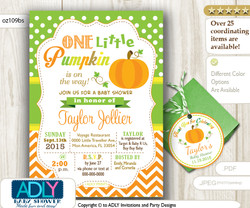Gender Neutral Pumpkin invitation plus thank you tags for baby shower, orange green