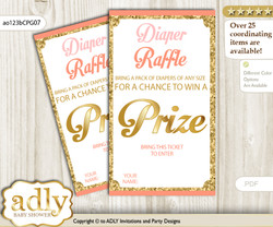 Baby Girl Diaper Raffle Printable Tickets for Baby Shower, Peach Pink, Glitter