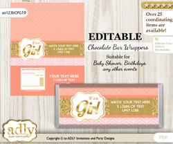 DIY Personalizable Baby Girl Chocolate Bar Candy Wrapper Label for Baby  baby shower, birthday Peach Pink , editable wrappers