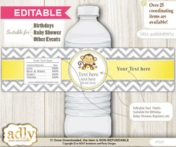 DIY Text Editable Boy Girl Monkey Water Bottle Label, Personalizable Wrapper Digital File, print at home for any event