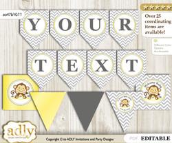 DIY Personalizable Boy Girl Monkey Printable Banner for Baby Shower, Yellow Grey, Chevron