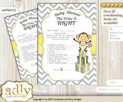 Printable Boy Girl Monkey Price is Right Game Card for Baby Monkey Shower, Yellow Grey, Chevron