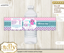 Girl Owl Water Bottle Wrappers, Labels for a Owl  Baby Shower, Pink Teal, Purple