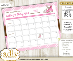 DIY Girl Sneakers Baby Due Date Calendar, guess baby arrival date game