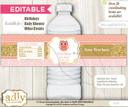 DIY Text Editable Girl Owl Water Bottle Label, Personalizable Wrapper Digital File, print at home for any event  nn