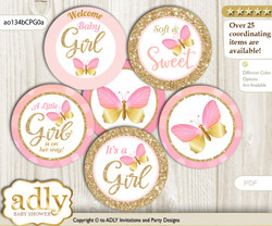Baby Shower Kisses Butterfly Cupcake Toppers Printable File for Little Kisses and Mommy-to-be, favor tags, circle toppers, Bokeh, Coral Pink