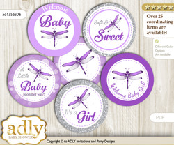 Baby Shower Girl Dragonfly Cupcake Toppers Printable File for Little Girl and Mommy-to-be, favor tags, circle toppers, Bokeh, Purple Grey
