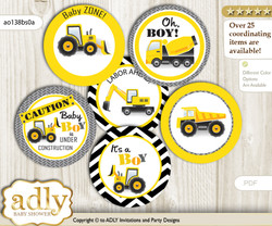Baby Shower Truck Construction Cupcake Toppers Printable File for Little Truck and Mommy-to-be, favor tags, circle toppers, Chevron, Yellow Black