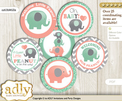 Baby Shower Unisex Elephant Cupcake Toppers Printable File for Little Unisex and Mommy-to-be, favor tags, circle toppers, Chevron, Peach Mint