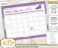 DIY Girl Sneakers Baby Due Date Calendar, guess baby arrival date game nn