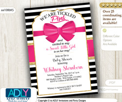 Kate Spade Inspired Hot Pink Bow, gold, black baby shower invitation