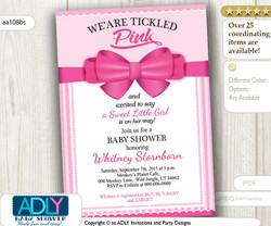 Hot Pink Bow Girl Baby Shower Invitation, fuscia pink digital card