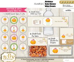 DIY Text Editable Girl Pumpkin Baby Shower, Birthday digital package, kit-cupcake, goodie bag toppers, water labels, chocolate bar wrappers