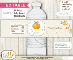 DIY Text Editable Girl Pumpkin Water Bottle Label, Personalizable Wrapper Digital File, print at home for any event