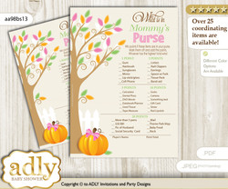 Girl Pumpkin What is in Mommy's Purse, Baby Shower Purse Game Printable Card , Lime Pink,  Fall