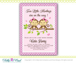 Lilac, Brown, Green Twin Monkeys baby shower invitation with 2 girl monkeys