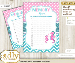 Girl Seahorse Memory Game Card for Baby Shower, Printable Guess Card, Pink teal, Glitter