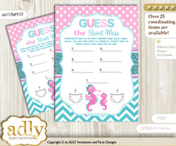 Girl Seahorse Dirty Diaper Game or Guess Sweet Mess Game for a Baby Shower Pink teal, Glitter