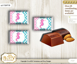 Girl Seahorse Chocolate Nuggets Candy Wrapper Label for Baby Girl Shower  Pink teal , Glitter