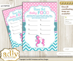 Girl Seahorse Guess Baby Food Game or Name That Baby Food Game for a Baby Shower, Pink teal Glitter