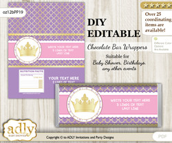 DIY Personalizable Royal Princess Chocolate Bar Candy Wrapper Label for Royal  baby shower, birthday Purple Pink , editable wrappers