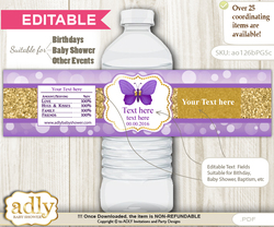 DIY Text Editable Girl Butterfly Water Bottle Label, Personalizable Wrapper Digital File, print at home for any event