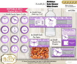 DIY Text Editable Girl Dragonfly Baby Shower, Birthday digital package, kit-cupcake, goodie bag toppers, water labels, chocolate bar wrappers