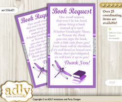 Request a Book Instead of a Card for Girl Dragonfly Baby Shower or Birthday, Printable Book DIY Tickets, Bokeh, Purple Grey