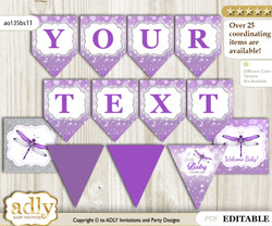 DIY Personalizable Girl Dragonfly Printable Banner for Baby Shower, Purple Grey, Bokeh