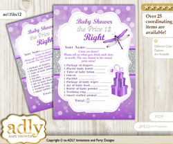 Printable Girl Dragonfly Price is Right Game Card for Baby Dragonfly Shower, Purple Grey, Bokeh