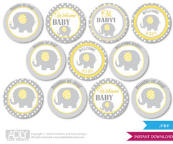Baby Shower  Neutral Elephant Cupcake Toppers Printable File for Little  Neutral and Mommy-to-be, favor tags, circle toppers,  Chevron,  Yellow Grey