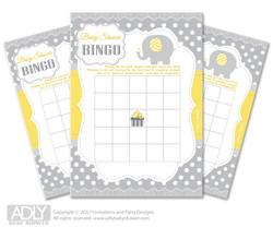 Printable  Yellow Grey Elephant Bingo Game Printable Card for Baby  NeutralShower DIY grey,  Yellow Grey,  Chevron