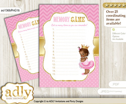 African Princess Memory Game Card for Baby Shower, Printable Guess Card, Crown, Chevron