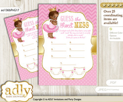 African Princess Dirty Diaper Game or Guess Sweet Mess Game for a Baby Shower Crown, Chevron