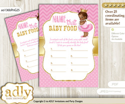 African Princess Guess Baby Food Game or Name That Baby Food Game for a Baby Shower, Crown Chevron