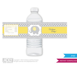 Neutral Elephant Water Bottle Wrappers, Labels for a  Elephant   Baby Shower,  Yellow Grey,  Chevron
