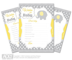 Neutral Elephant Wishes for a Baby, Well Wishes for a Little Elephant Printable Card,  Chevron,  Yellow Grey
