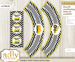 Printable Truck Construction Cupcake, Muffins Wrappers plus Thank You tags for Baby Shower Yellow Black, Chevron