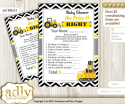 Printable Truck Construction Price is Right Game Card for Baby Construction Shower, Yellow Black, Chevron