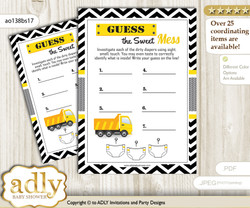 Truck Construction Dirty Diaper Game or Guess Sweet Mess Game for a Baby Shower Yellow Black, Chevron