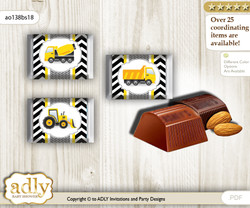 Truck Construction Chocolate Nuggets Candy Wrapper Label for Baby Truck Shower  Yellow Black , Chevron