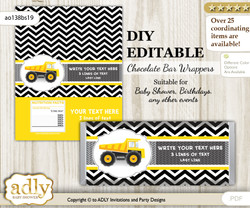 DIY Personalizable Truck Construction Chocolate Bar Candy Wrapper Label for Truck  baby shower, birthday Yellow Black , editable wrappers