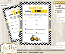 Truck Construction Guess Baby Food Game or Name That Baby Food Game for a Baby Shower, Yellow Black Chevron