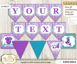 DIY Personalizable Sea Mermaid Printable Banner for Baby Shower, Purple Teal, Glitter