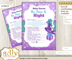Printable Sea Mermaid Price is Right Game Card for Baby Mermaid Shower, Purple Teal, Glitter